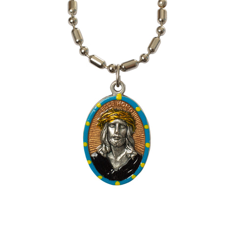 Ecce Homo Suffering Jesus Medal - Hand-Painted on Italian Silver by Saints for Sinners