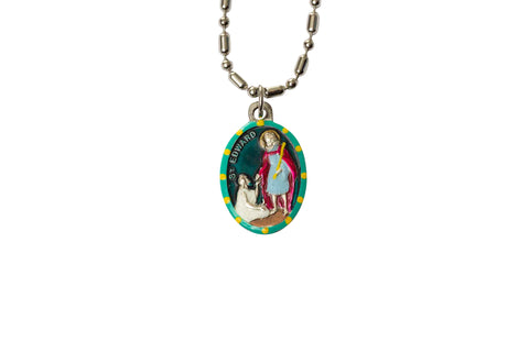 Saint Edward the Confessor Miraculous Medal - Hand-Painted on Italian Silver by Saints For Sinners