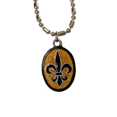 Holy Spirit / Fleur de Lis Medal, Hand-Painted Medal, The Third Part of the Trinity