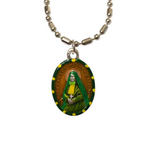 Saint Frances Xavier Cabrini Medal - Hand-Painted on Italian Silver by Saints For Sinners