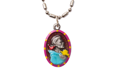 Francis of Assisi, Hand-Painted Saint Medal, Patron Saint of Ecology & the Environment, Animal Lovers, Bird Watchers & the Peace Prayer
