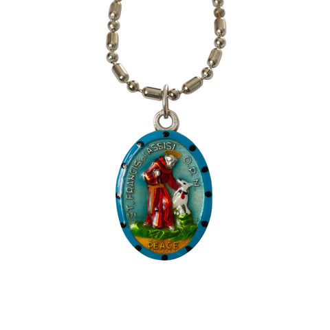 Saint Francis of Assisi Medal - Hand-Painted on Italian Silver by Saints For Sinners