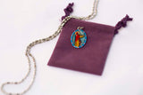 Saint Genevieve Miraculous Medal - Hand-Painted on Italian Silver by Saints For Sinners
