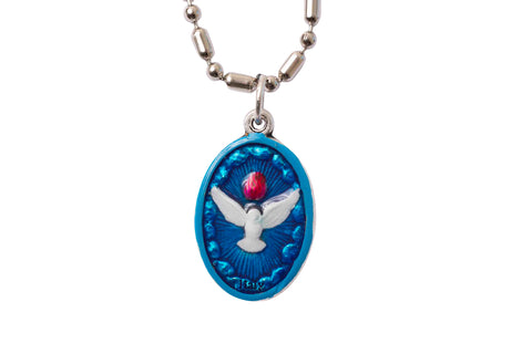 Holy Spirit Medal - Blue & White - Hand-Painted on Italian Silver by Saints For Sinners