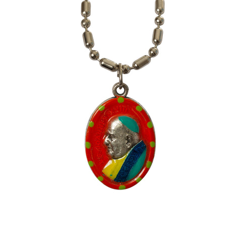 Pope John XXIII Saint Medal - Hand-painted on imported Italian Silver by Saints for Sinners