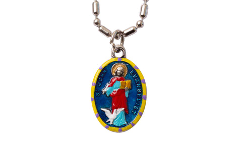 Saint John the Evangelist Miraculous Medal Necklace - Hand-painted on Italian Silver by Saints For Sinners