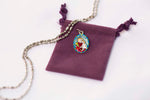 Saint Joseph Medal Necklace - Hand-painted on imported Italian Silver by Saints For Sinners