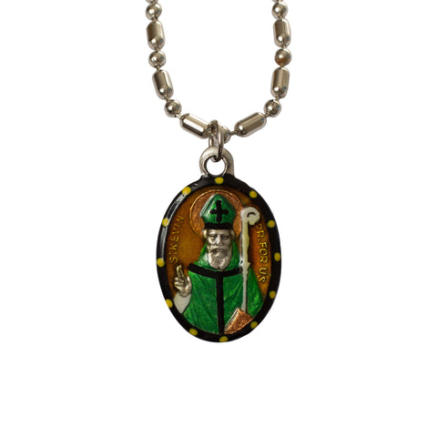 Saint Kevin of Glendalough Medal - Hand-Painted on Italian Silver by Saints For Sinners