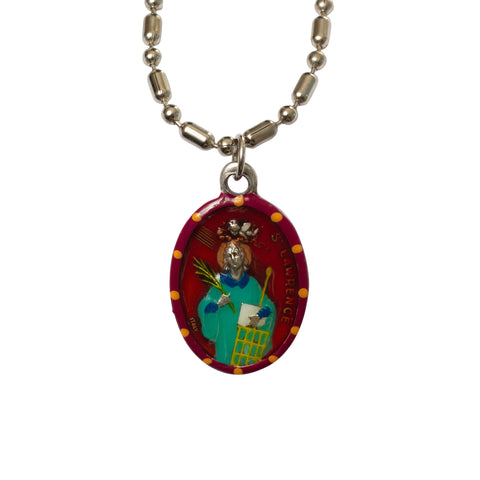 Saint Lawrence Lorenzo Medal - Hand-Painted on Italian Silver by Saints For Sinners