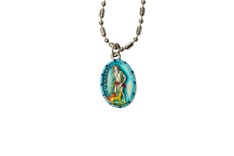 Saint Lazarus Medal Necklace - Hand-painted on imported Italian Silver by Saints For Sinners
