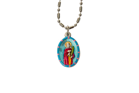 Saint Lucy Medal - Hand-Painted on imported Italian Silver by Saints For Sinners