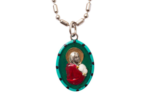 Madonna of the Street Miraculous Medal - Hand-Painted on Italian Silver by Saints For Sinners