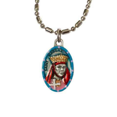 Saint Margaret of Scotland Medal - Hand-Painted on Italian Silver by Saints For Sinners