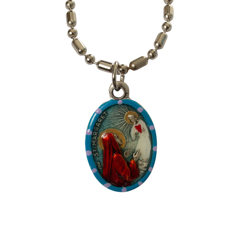 Saint Margaret of Antioch Medal - Hand-Painted on Italian Silver by Saints For Sinners