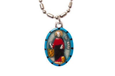 Mark the Apostle, Hand-Painted Saint Medal, Gospel, Evangelist, Disciple of Saint Peter, Missionary, Mission Trips, Patron of Apostles, Notaries, Against Mosquito Bites