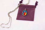 Saint Mark Miraculous Medal Necklace - Hand-painted on Italian Silver by Saints For Sinners