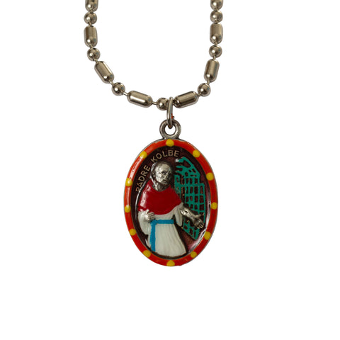 Saint Maximilian Kolbe Medal Necklace - Hand-painted on Italian Silver by Saints For Sinners