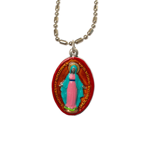 Miraculous Medal (Medium) - Hand-Painted on Italian Silver by Saints For Sinners
