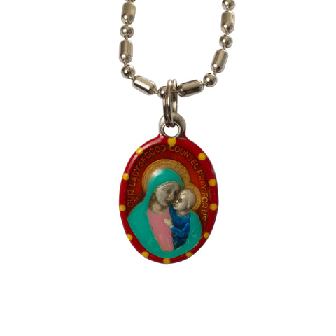 Our Lady of Good Counsel Medal - Hand-Painted on Italian Silver by Saints for Sinners