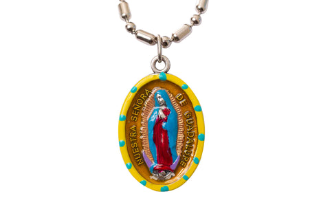 Our Lady of Guadalupe Medal - Hand-Painted on imported Italian Silver by Saints For Sinners