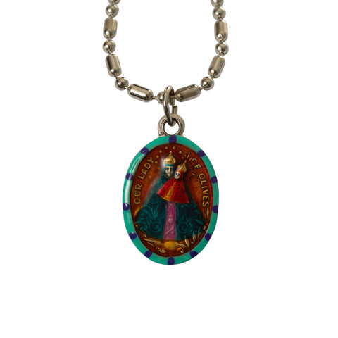 Our Lady of Olives Medal - Hand-Painted on imported Italian Silver by Saints For Sinners