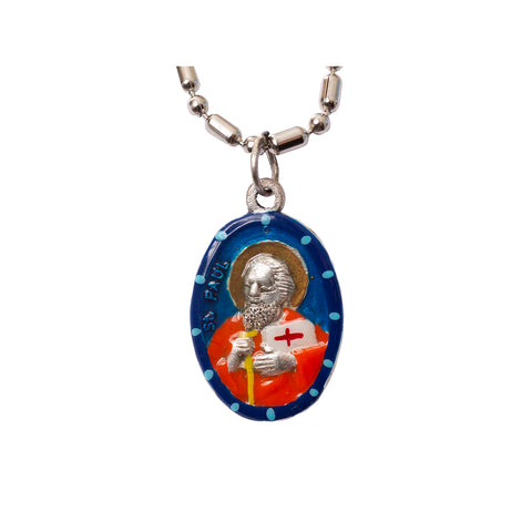 Saint Paul the Apostle Medal Necklace - Hand-painted on imported Italian Silver by Saints For Sinners