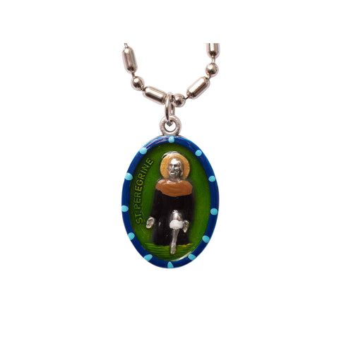 Saint Peregrine Medal - Hand-painted on imported Italian Silver by Saints For Sinners