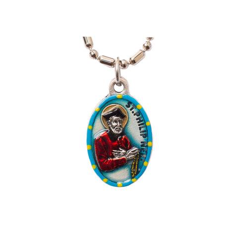 Saint Philip Neri Medal Necklace - Hand-painted on imported Italian Silver by Saints For Sinners
