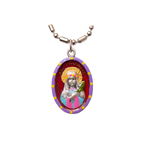 Saint Philomena Medal Necklace - Hand-painted on imported Italian Silver by Saints For Sinners