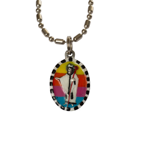 Saint Richard Medal Necklace - Hand-painted on imported Italian Silver by Saints For Sinners