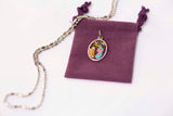 Saint Rita Medal Necklace - Hand-painted on imported Italian Silver by Saints For Sinners