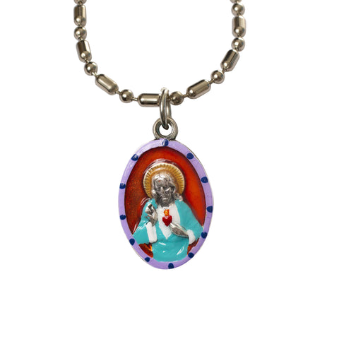 Sacred Heart of Jesus Medal - Hand-Painted on Italian Silver by Saints For Sinners