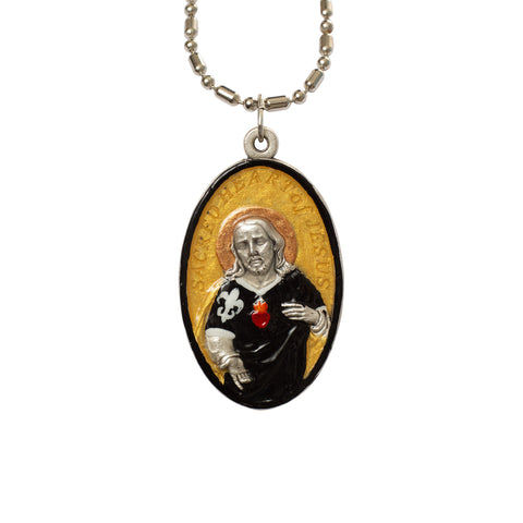 Sacred Heart of Jesus Football Medal - Hand-Painted on Italian Silver by Saints For Sinners
