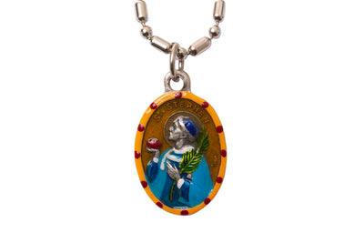 Stephen, Hand-Painted Saint Medal, Stephen the Martyr, Patron Saint of Workers, Bricklayers, Builders, Masons, Horses, Debaters, Invoked against Headaches and Migraines