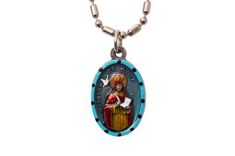 Saint Teresa of Avila Medal - Hand-Painted on imported Italian Silver by Saints For Sinners
