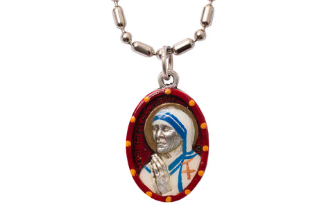Saint Mother Teresa of Calcutta Medal - Hand-Painted on Italian Silver by Saints For Sinners