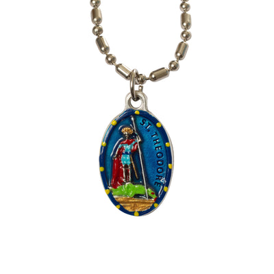 Theodore, Hand-Painted Saint Medal, Patron Saint of Venice, Italy, Protection of Recruits & Enlisted Soldiers, Invoked Against Theft
