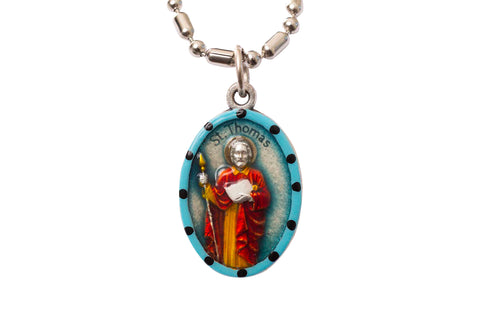 Saint Thomas the Apostle Medal Necklace - Hand-painted on imported Italian Silver by Saints For Sinners