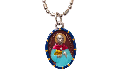 Saint Thomas Aquinas Medal Necklace - Hand-painted on imported Italian Silver by Saints For Sinners