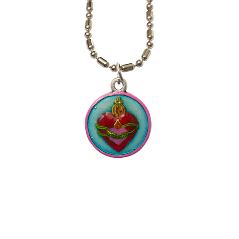 United Hearts Medal Necklace - Hand-painted on imported Italian Silver by Saints For Sinners