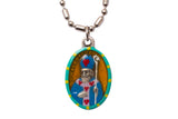 Saint Valentine Medal Necklace - Hand-painted on imported Italian Silver by Saints For Sinners