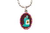 Saint Veronica Medal Necklace - Hand-painted on imported Italian Silver by Saints For Sinners