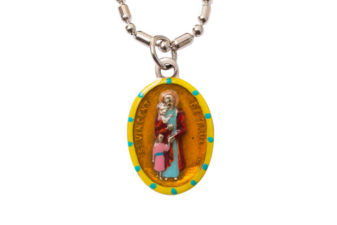 Saint Vincent de Paul Medal Necklace - Hand-painted on imported Italian Silver by Saints For Sinners