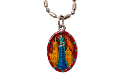 Virgo Lauretana Medal, Our Lady of Loreto, Hand-Painted Saint Medal,  Loreto, Italy, Patron of Aviators, Pilots, Flight Attendants, Skydivers and Invoked for Safety while traveling by Air, like Flying Trapezes and Hot Air Balloons