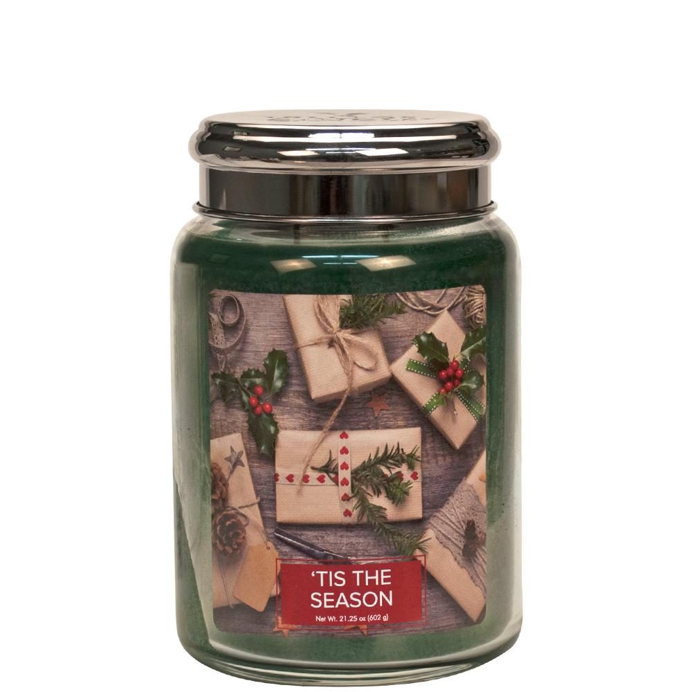 Tis the Season Large Glass Jar Christmas