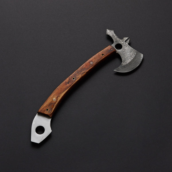 |Knives Hub| Custom Handmade Damascus Steel Axe With Leather Sheath