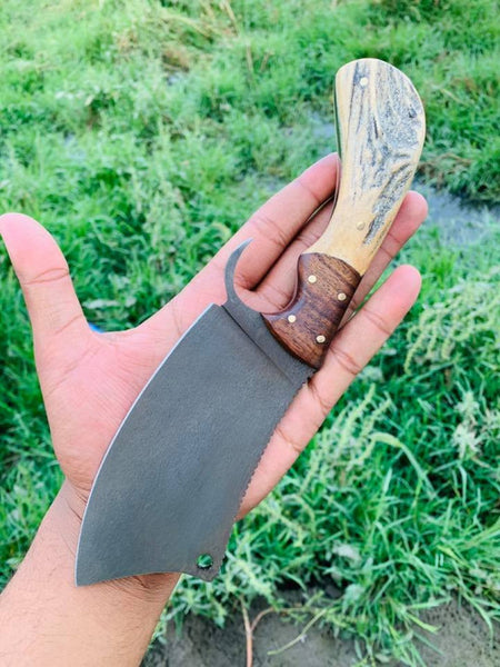 Custom Handmade 1095 Steel Viking Cleaver Knife With Stag Horn Handle With Leather Sheath.......Knives Hub