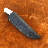 Custom Handmade Damascus Steel Skinning Knife With Leather Sheath