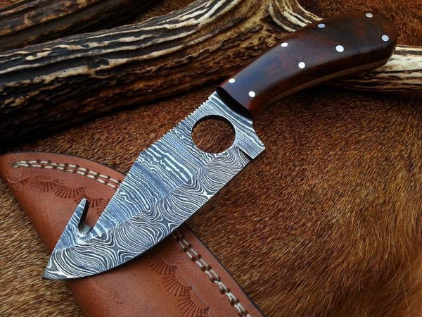 Custom Handmade Damascus Steel Gut Hook Knife With Leather Sheath....Knives Hub