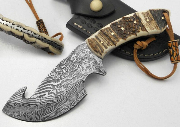 Custom Handmade Damascus Steel Gut Hook Skinner Knife Stag Horn Handle With Leather Sheath.....Knives Hub